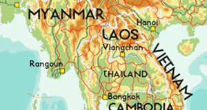 Cambodia, Laos, Myanmar and Vietnam on map.