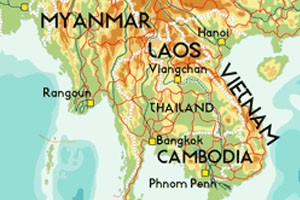 Cambodia, Laos, Myanmar and Vietnam on map.